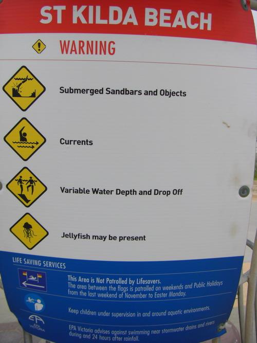 beach warning sign